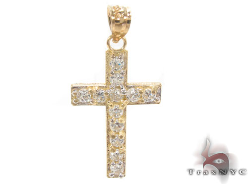 CZ 10K Gold Cross Crucifix 34137 Gold