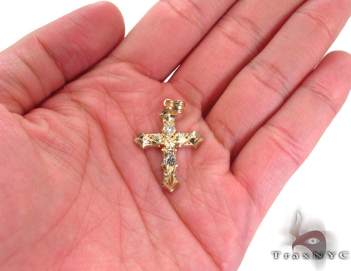 CZ 10K Gold Cross Crucifix 34141 Gold