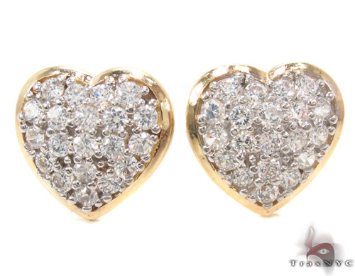 CZ 10K Gold Heart Earrings 34227 Metal