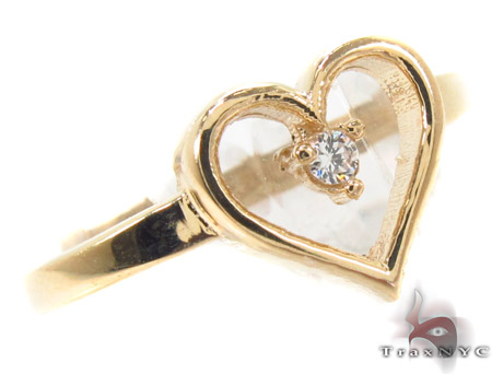 CZ 10K Gold Heart Ring 33581 Anniversary/Fashion