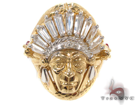CZ 10K Gold Indian Head Ring 33273 Metal