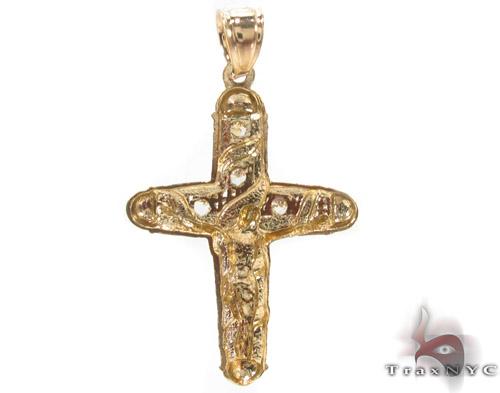 CZ 10K Gold Jesus Cross Crucifix 34129 Gold