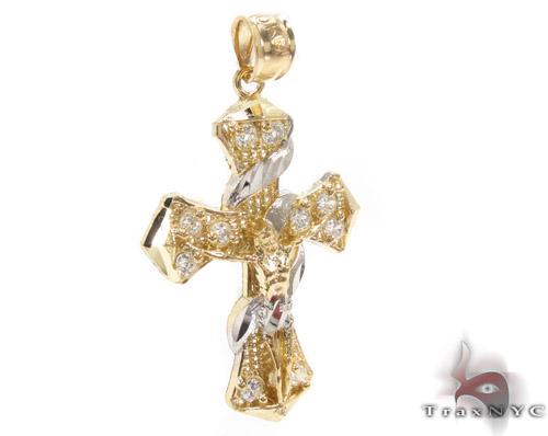 CZ 10K Gold Jesus Cross Crucifix 34130 Gold