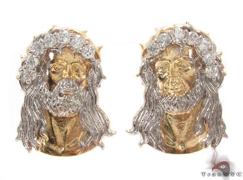 CZ 10K Gold Jesus Earrings 34154 Metal
