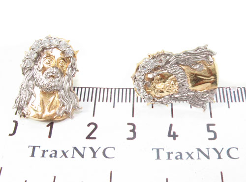 CZ 10K Gold Jesus Earrings 34154 Metal