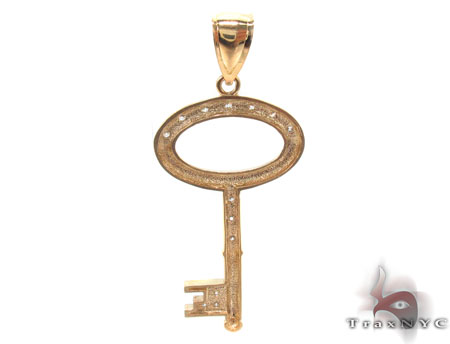 CZ 10K Gold Key Pendant 33625 Metal