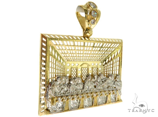 CZ 10K Gold Last Supper Pendant 33654 Metal