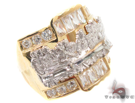 CZ 10K Gold Last Supper Ring 33254 Metal