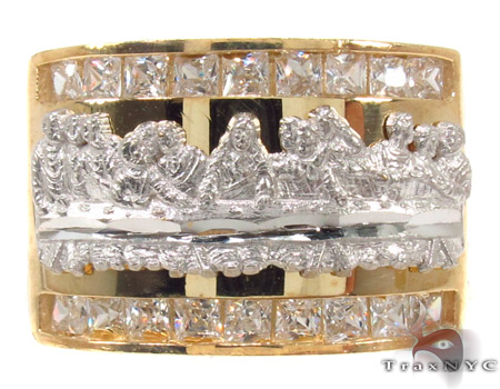 CZ 10K Gold Last Supper Ring 33282 Metal