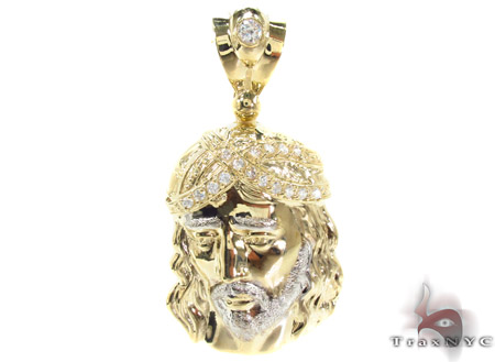 Jesus Head CZ 10K Gold Pendant Metal