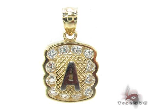 CZ 10K Gold Letter A Pendant Metal