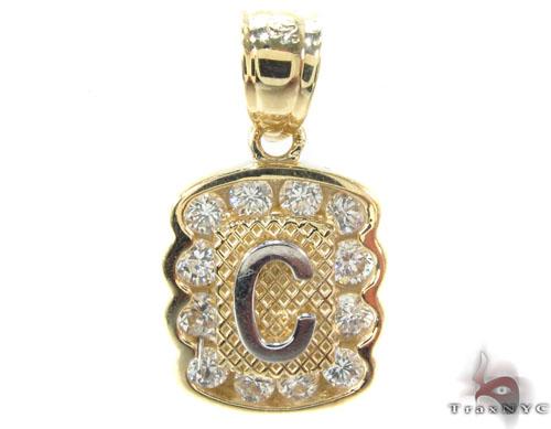 CZ 10K Gold Letter C Pendant Metal