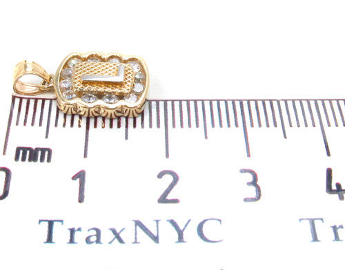 CZ 10K Gold L Pendant Metal