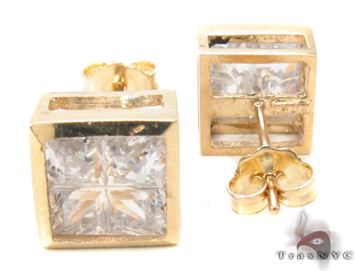 CZ 10K Gold Square Earrings 34236 Metal