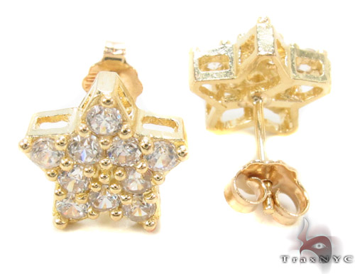 CZ 10K Gold Star Earrings 34226 Metal