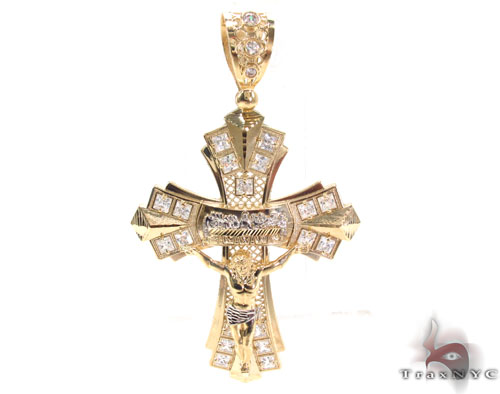 CZ 10K Two Tone Gold Cross 33950 Gold