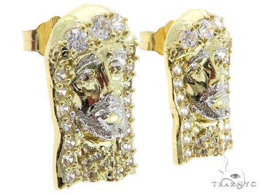 CZ 10K Two Tone Gold Jesus Studs 57128 Metal