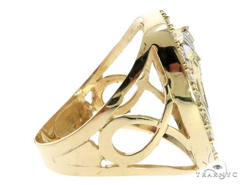 CZ 10K Two Tone Gold Pharaoh Ring Metal