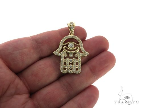 CZ 10K Yellow Gold Hamsa Charm Pendant 61784 Metal