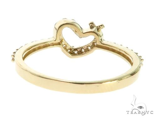 CZ 10K Yellow Gold Heart with Cross Crucifix Ring 63112 Anniversary/Fashion