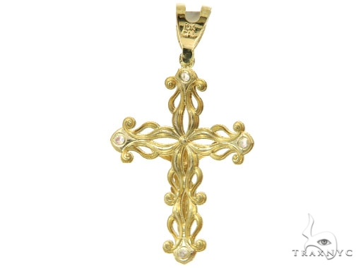 CZ 10K Yellow Gold Jesus Cross Crucifix 57106 Gold