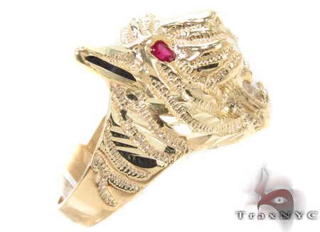 CZ 10K Yellow Tiger Gold Ring 33297 Metal