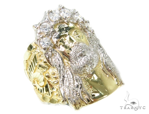 CZ 10k Gold Jesus Ring 39567 Metal