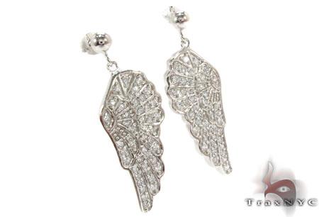 CZ Angel Silver Earrings 31433 Metal