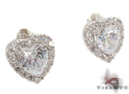CZ Heart Silver Earrings 31432 Metal