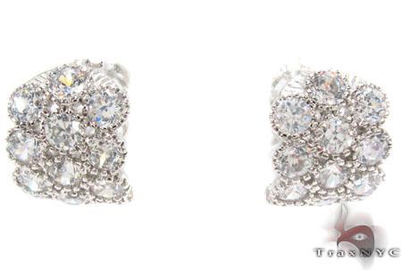 CZ Hoop Silver Earrings 31435 Metal
