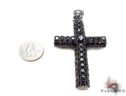 CZ Silver Black Cross Crucifix 35528 Silver