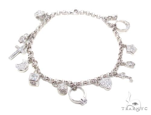 CZ Silver Bracelet Silver & Stainless Steel