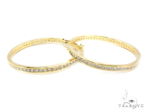 CZ Silver Hoop Earrings 36130 Metal