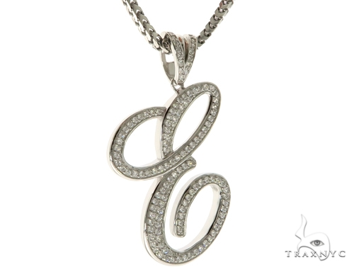 CZ Silver Initial(E) Pendant 30 Inches Franco Chain Set 58501 Metal