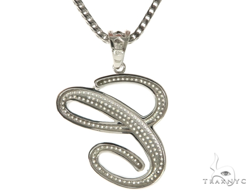 CZ Silver Initial(C) Pendant 30 Inches Franco Chain Set 58499 Metal