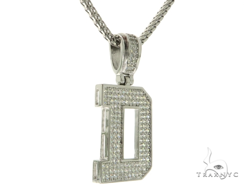 CZ Silver Initial(D) Pendant 24 Inches Franco Chain Set 58472 Metal