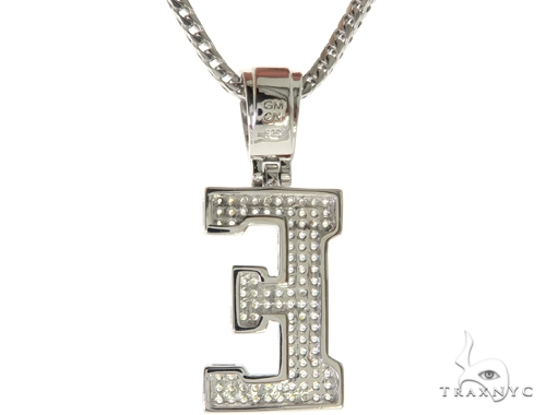 CZ Silver Initial(E) Pendant 24 Inches Franco Chain Set 58473 Metal