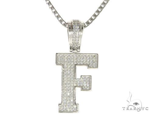 CZ Silver Initial(F) Pendant 24 Inches Franco Chain Set 58474 Metal