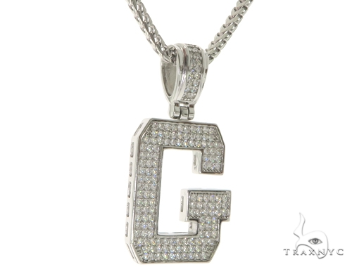 CZ Silver Initial(G) Pendant 24 Inches Franco Chain Set 58475 Metal