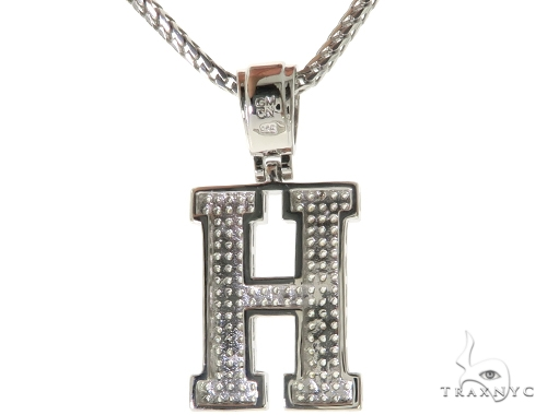 CZ Silver Initial(H) Pendant 24 Inches Franco Chain Set 58476 Metal