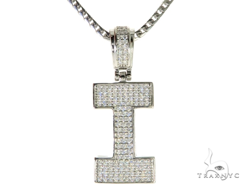 CZ Silver Initial(I) Pendant 24 Inches Franco Chain Set 58477 Metal