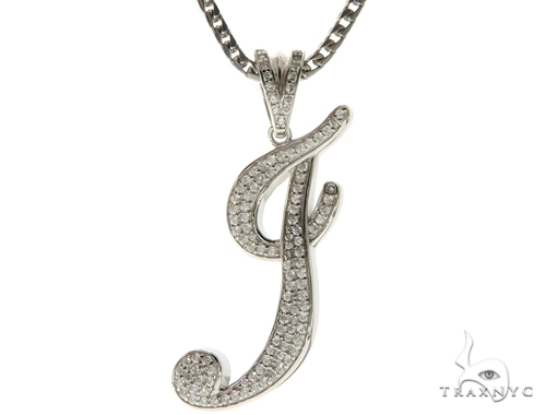 CZ Silver Initial(I) Pendant 30 Inches Franco Chain Set 58505 Metal