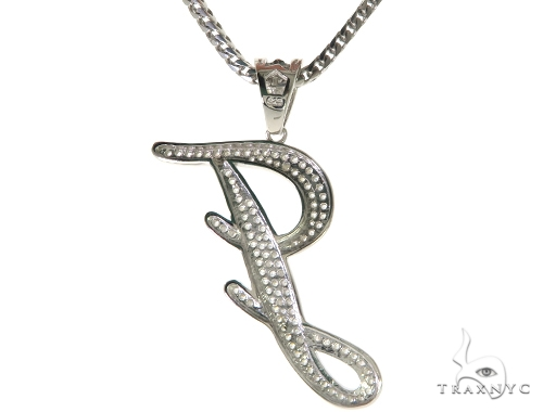 CZ Silver Initial(J) Pendant 30 Inches Franco Chain Set 58506 Metal