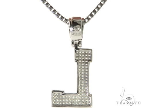 CZ Silver Initial(L) Pendant 24 Inches Franco Chain Set 58480 Metal