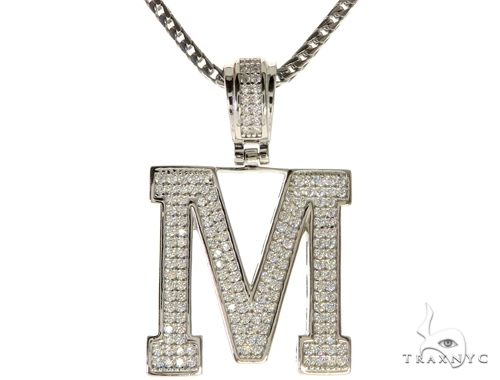 CZ Silver Initial(M) Pendant 24 Inches Franco Chain Set 58481 Metal