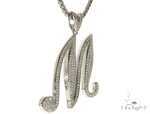 CZ Silver Initial(M) Pendant 30 Inches Franco Chain Set 58509 Metal