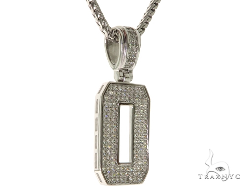 CZ Silver Initial(O) Pendant 24 Inches Franco Chain Set 58483 Metal