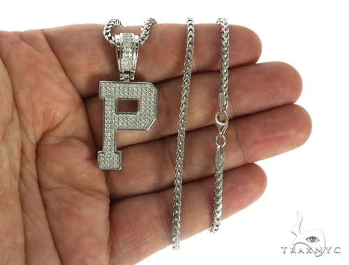 CZ Silver Initial(P) Pendant 24 Inches Franco Chain Set 58484 Metal
