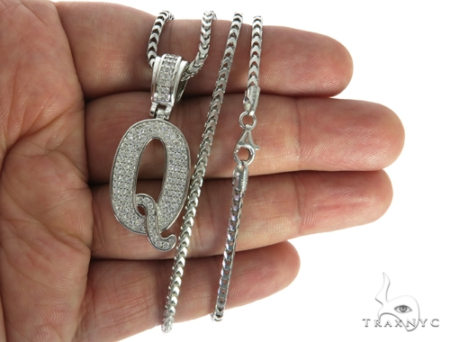 CZ Silver Initial(Q) Pendant 24 Inches Franco Chain Set 58485 Metal