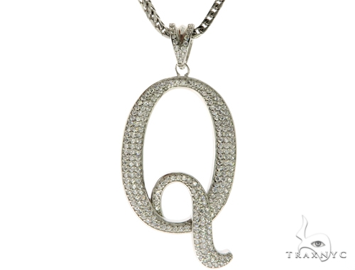 CZ Silver Initial(Q) Pendant 30 Inches Franco Chain Set 58513 Metal